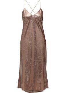 Michelle Mason Woman Open-back Tinsel Midi Dress Antique Rose