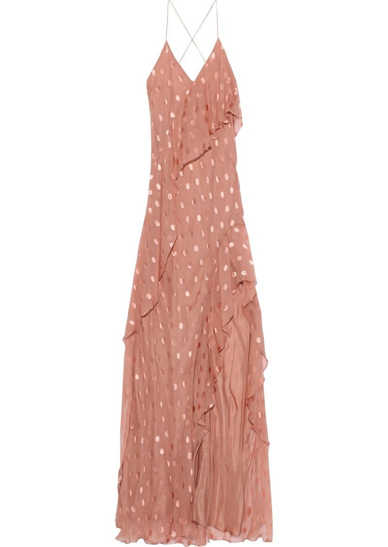Michelle Mason Woman Open-back Ruffled Fil Coupé Silk-blend Gown Antique Rose