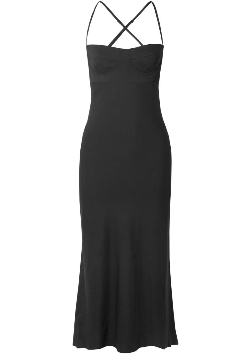 Michelle Mason Woman Satin-crepe Midi Dress Black