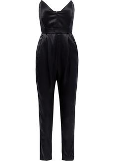 Michelle Mason Woman Strapless Silk-charmeuse Jumpsuit Black
