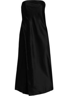 Michelle Mason Woman Strapless Wrap-effect Silk-charmeuse And Satin Midi Dress Black