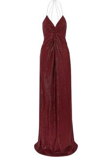 Michelle Mason Woman Twist-front Crystal-embellished Metallic Stretch-mesh Gown Burgundy