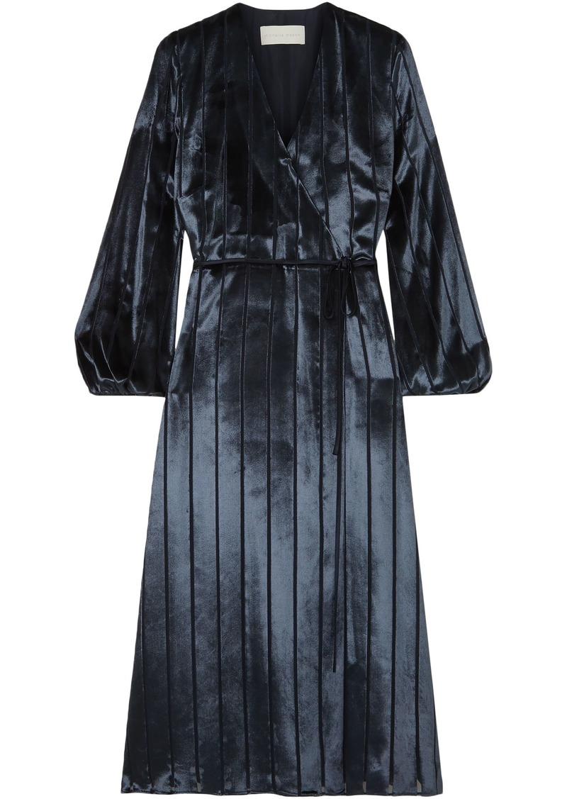 Michelle Mason Woman Striped Burnout Velvet Midi Wrap Dress Midnight Blue