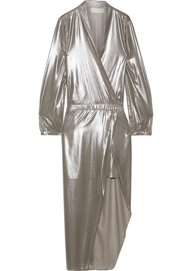 Michelle Mason Woman Wrap-effect Asymmetric Lamé Dress Platinum