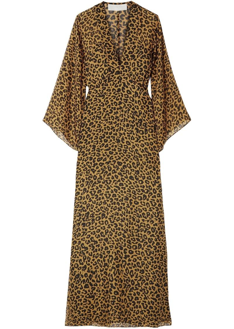 Michelle Mason Woman Wrap-effect Leopard-print Silk-chiffon Maxi Dress Animal Print