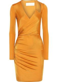Michelle Mason Woman Wrap-effect Ruched Satin-jersey Mini Dress Saffron