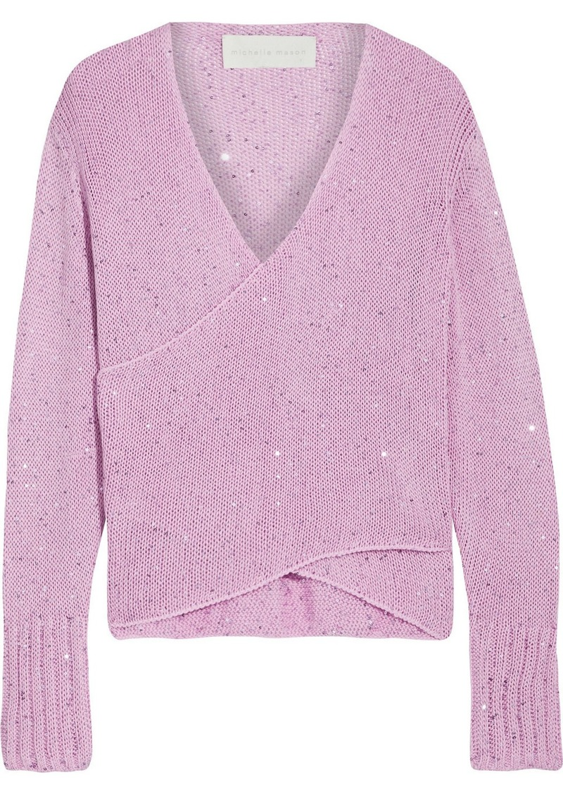 Michelle Mason Woman Wrap-effect Sequin-embellished Cotton-blend Sweater Bubblegum