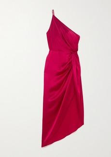 Michelle Mason One-shoulder Asymmetric Twisted Silk-satin Dress
