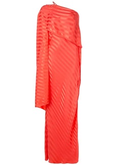 Michelle Mason one-shoulder cape gown