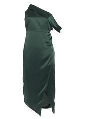 Michelle Mason One-Shoulder Draped Silk Dress