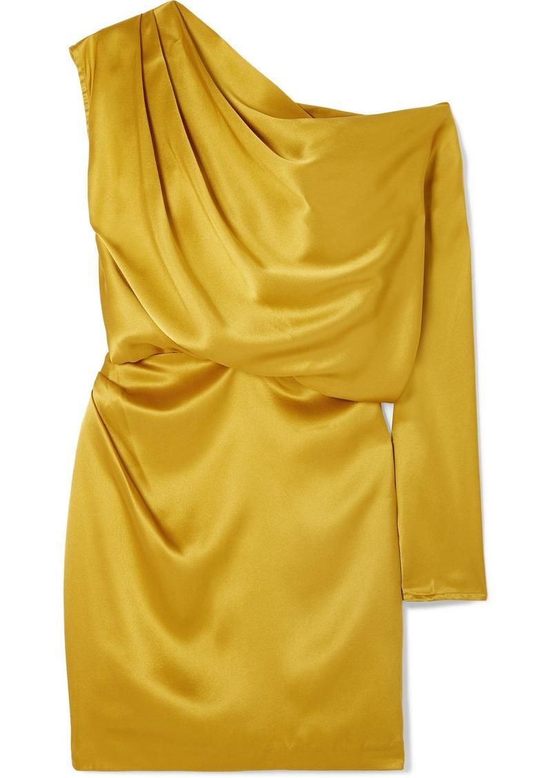 Michelle Mason One-shoulder Draped Silk-satin Mini Dress