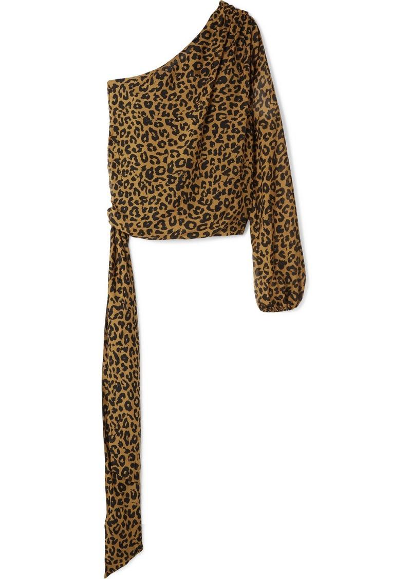 c74f2a5a57 Michelle Mason One-shoulder Leopard-print Silk-chiffon Top