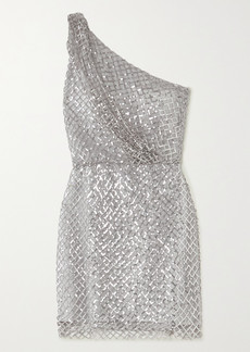 Michelle Mason One-shoulder Sequined Mesh And Silk Mini Dress
