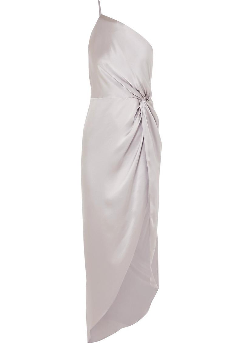 Michelle Mason One-shoulder Twisted Asymmetric Silk-satin Gown