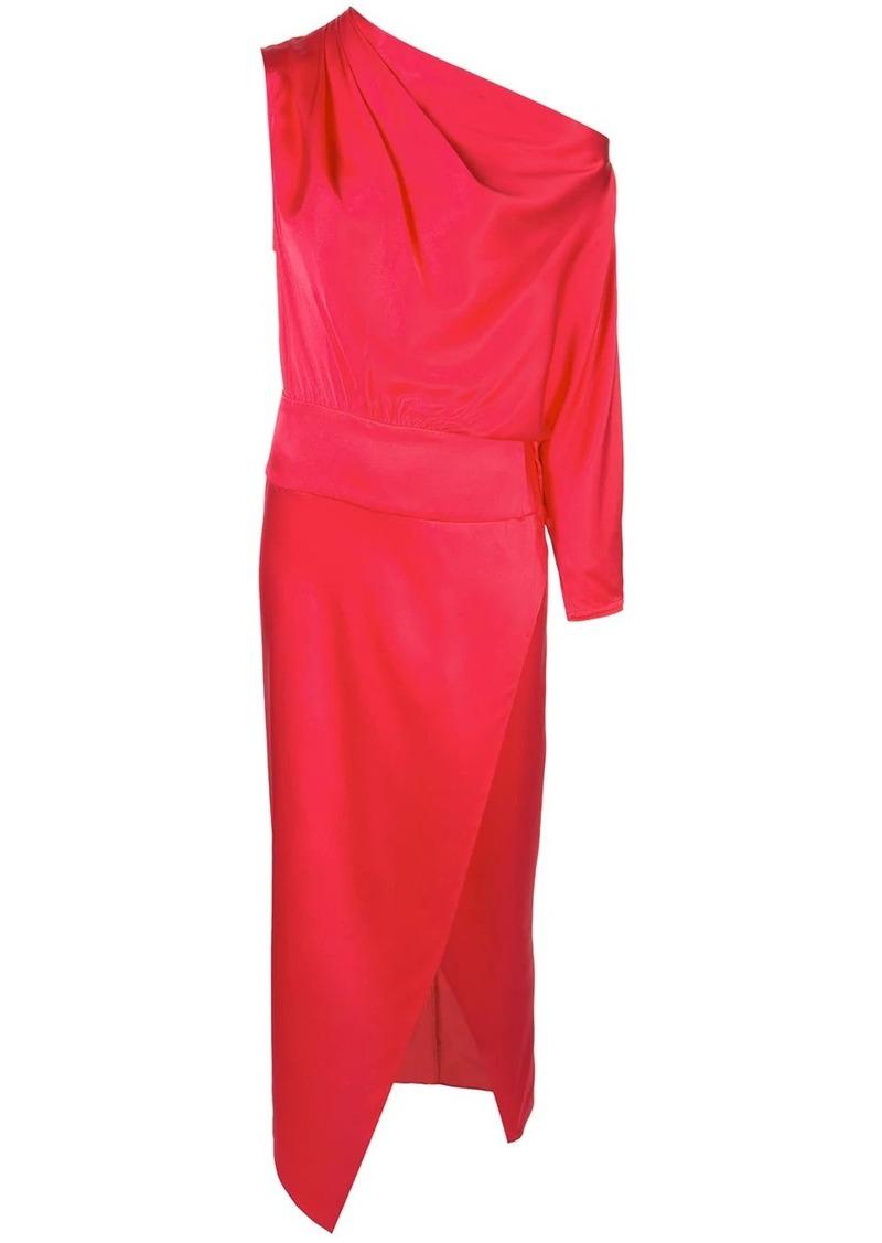 Michelle Mason asymmetric draped midi dress