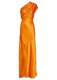 Michelle Mason Silk Charmeuse One-Shoulder Gown