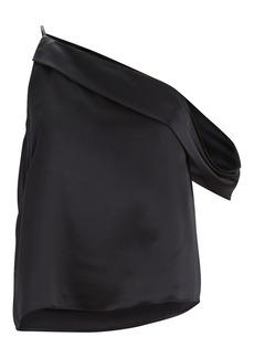 Michelle Mason Silk Charmeuse One-Shoulder Top