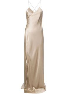 Michelle Mason strappy wrap gown