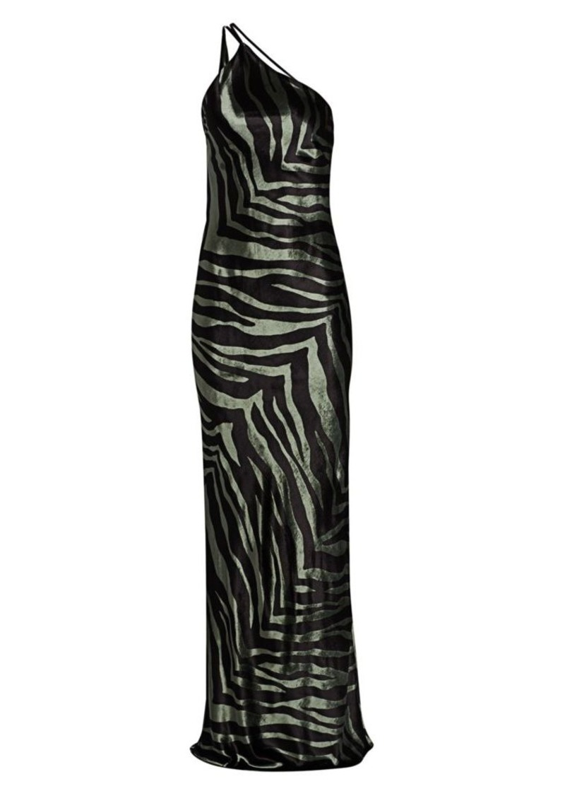Michelle Mason Zebra Print Open Back Silk Gown