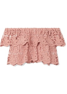 Miguelina Angelica cropped off-the-shoulder crocheted cotton-lace top