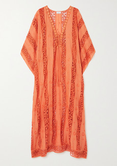 Miguelina Blair Crocheted Cotton-voile Kaftan