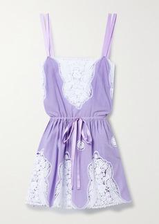 Miguelina Brielle Crochet-trimmed Cotton Mini Dress