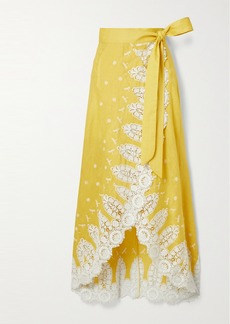 Miguelina Clarice Crochet-trimmed Embroidered Linen Wrap Skirt