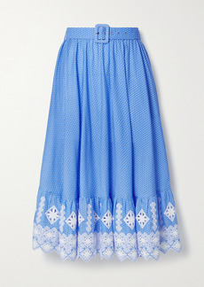 Miguelina Debbie Embroidered Polka-dot Cotton-poplin Midi Skirt