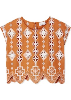 Miguelina Deva cropped broderie anglaise-trimmed cotton top