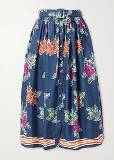 Miguelina Elani Belted Floral-print Cotton Midi Skirt