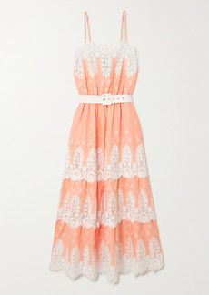Miguelina Fatema Belted Crocheted Cotton And Linen Midi Dress