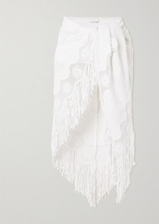 Miguelina Julia Fringed Crocheted Cotton-blend Pareo