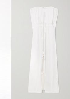 Miguelina Juno Off-the-shoulder Tasseled Cotton-crepon Maxi Dress