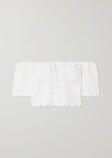 Miguelina Kela Off-the-shoulder Crocheted Cotton Top