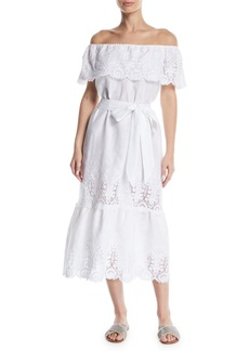 Miguelina Lisselle Off-the-Shoulder Embroidered Cotton Midi Dress