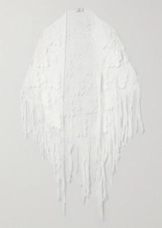 Miguelina Majandra Fringed Crocheted Cotton Shawl