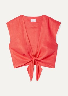 Miguelina Marcy Cropped Tie-front Linen Top