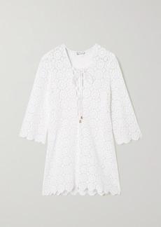 Miguelina Mariah Lace-up Crocheted Cotton Mini Dress