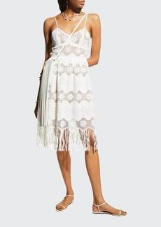 Miguelina Hollis Lace Fringe Dress