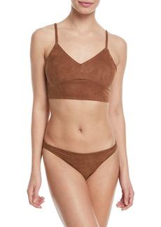 Miguelina Morgan V-Neck Microsuede® Two-Piece Swim Set