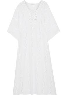 Miguelina Woman Blair Crochet-trimmed Cotton-voile Kaftan White