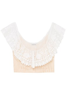 Miguelina Woman Effie Cropped Crochet-trimmed Gingham Cotton Top Peach