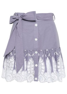 Miguelina Woman Guipure Lace And Embroidered Cotton Mini Skirt Lavender