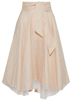 Miguelina Woman Jackie Asymmetric Belted Gingham Linen Skirt Pastel Orange