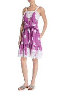 Miguelina Mindy Sleeveless Belted Embroidered Cotton Sun Dress