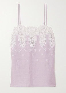 Miguelina Morgan Crocheted Cotton And Linen Camisole