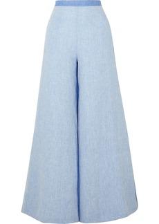 Miguelina Pamela Two-tone Linen-chambray Wide-leg Pants