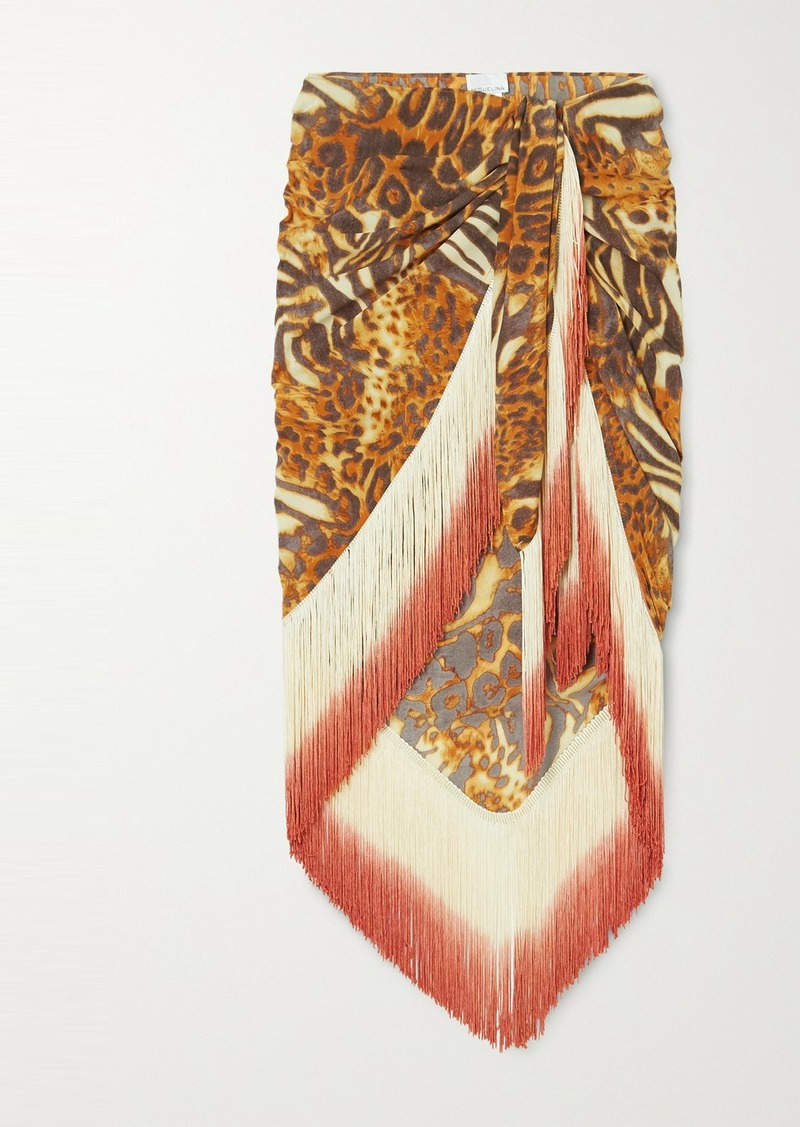 Safiya Fringed Animal-print Silk Pareo