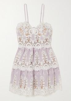 Miguelina Sara Crocheted Cotton And Linen Mini Dress