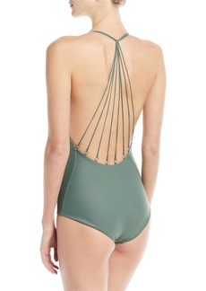 Mikoh Swimwear Ipanema Strappy Metal-Ring Back One-Piece Swimsuit